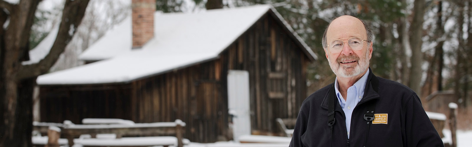 Stan Temple pictured in the snowy woods near the historic Aldo Leopold Shack in rural Baraboo, Wisconsin.